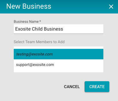 Create new child business modal